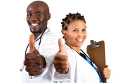 Nurse and doctor thumbs up